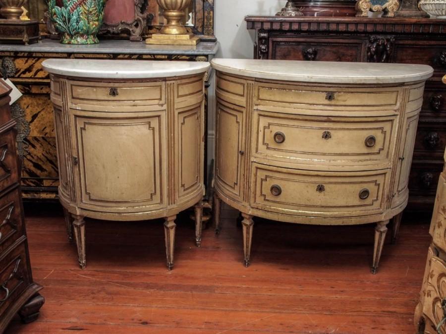 Suite of Italian Luigi XVI Style 19th Century Demi-lune Cabinets ...