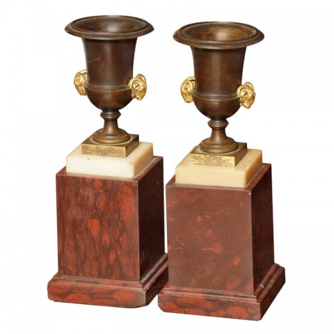 PAIR OF FRENCH ROUGE MARBLE AND BRONZE URNS