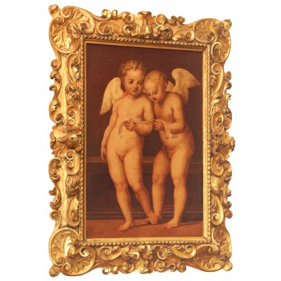 Italian Oil on Canvas of Two Cherub in Period Gilt Frame