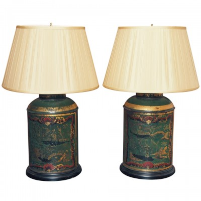 Pair of Exceptional French Tea Tins now wired as lamps