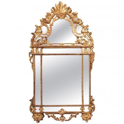French Regence Gilt Wood Mirror