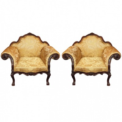 Pair of 18th c. Piedmontese Armchairs
