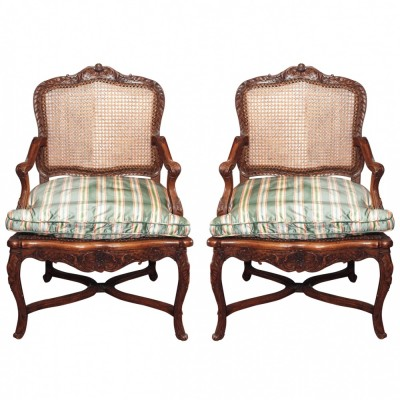Pair of French Walnut Regence Cane Armchairs