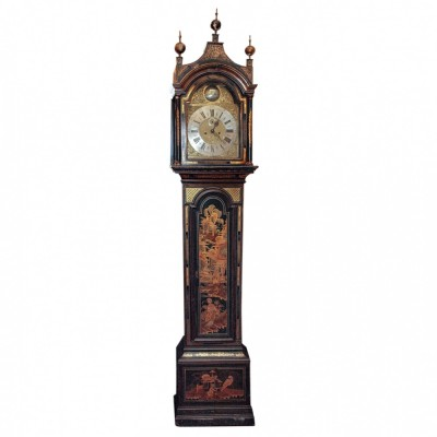 English Regency Chinoisorie Decorated Tall Case Clock