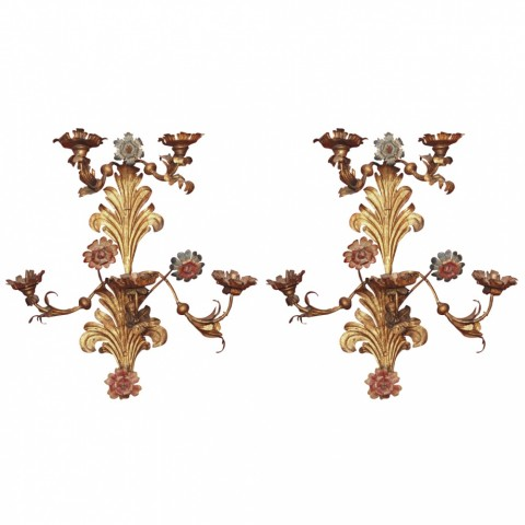 Monumental Pair of 18th c.Gilt and painted Iron Piedmontese Wall Sconces