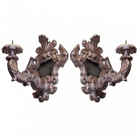 Pair of Italian Baroque Silver Gilt Mirrored Sconces