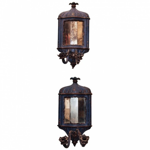 Pair of 18th c. Painted Wood Venetian and Mirror Wall Sconces