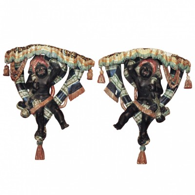 Pair of Polychromed Venetian Blackamoor Wall Brackets