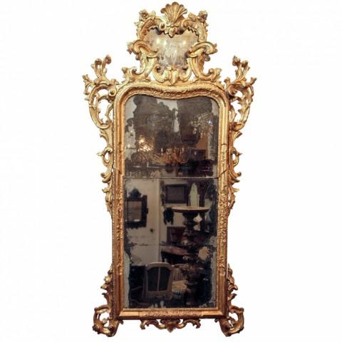 Baroque Venetian Gilt Wood Looking Glass