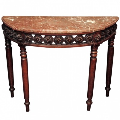 Louis XVI Demi Lune Marble Topped Console Table