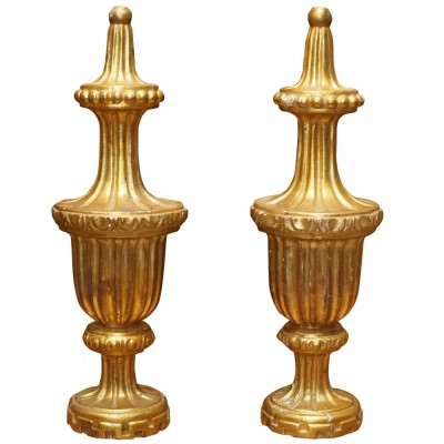Pair Of 19th C. Gilt Wood Finials