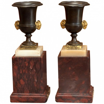 Pair of French NeoClassical Bronze Urns on Rouge Marble Bases