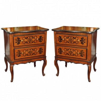 Pair of Italian Marquetry Commodini