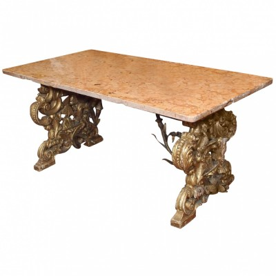 Late 17th Gilt Wood Bench With Iron Supports Now With Marble Top