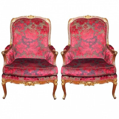 Pair of French Napoleon III Parcel Gilt Bergere