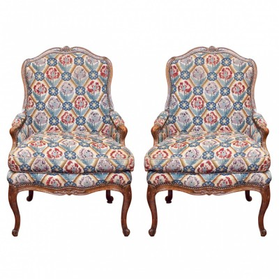 Pair of Period Louis XV Walnut Bergere with Needlepoint Upholstery