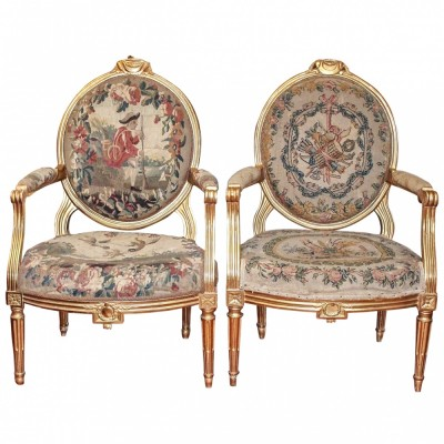 Pair of Period Louis XVI GIlt Oval back Chairs