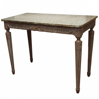 French Louis XVI Painted with Marble Top Console Table