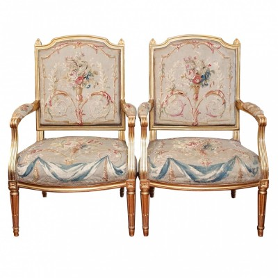 Pair of Louis XVI Gilt Wood Fauteuil with Aubusson Covering