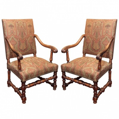 French Late 19th Century Walnut Tall Back Chairs