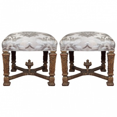 Pair of Italian Late 17th Century Gilt Wood Stools