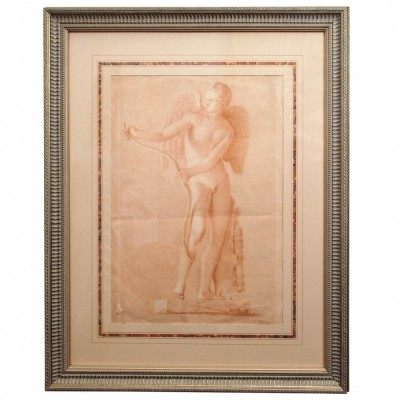 18th Century Sanguine Chalk Drawing of Cupid Statue