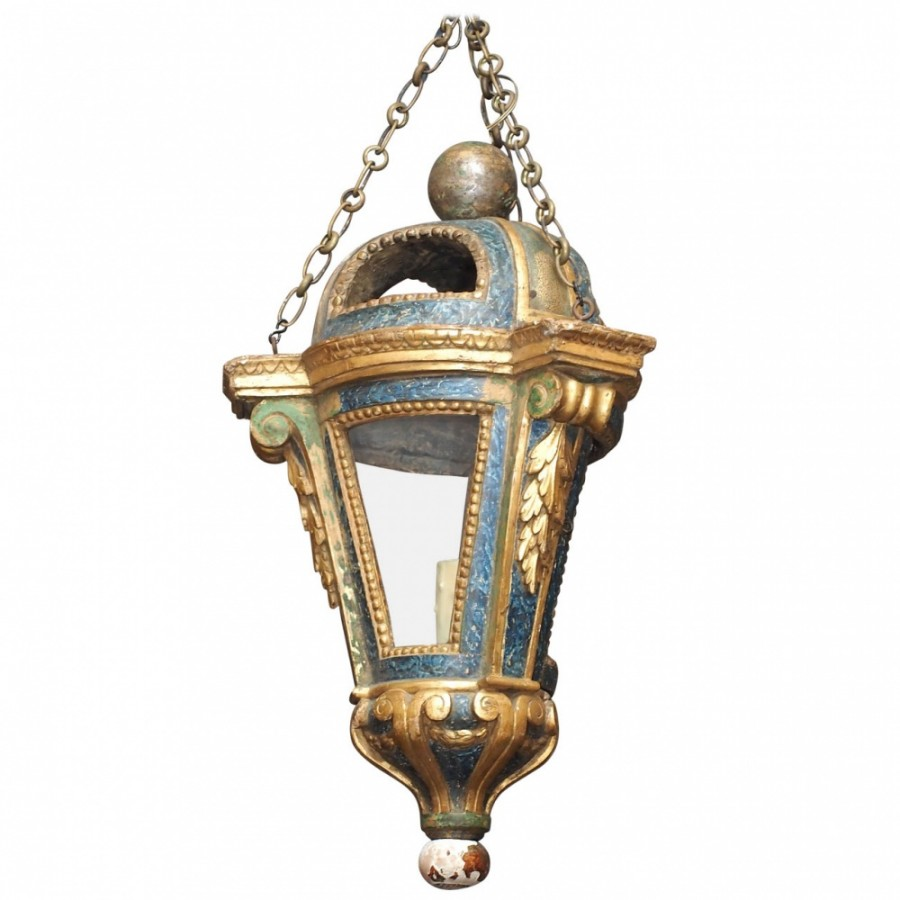 Venetian Painted And Parcel Gilt Processional Lantern Converted