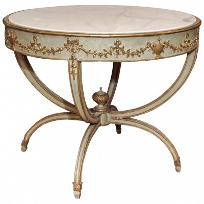 Italian Louis XVI 19th Century Painted and Parcel Silver Gilt Center Table