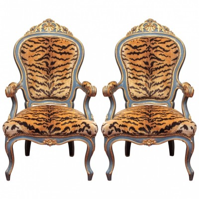 Pair of Italian Mid 19th Century Parcel Gilt and Painted Armchairs