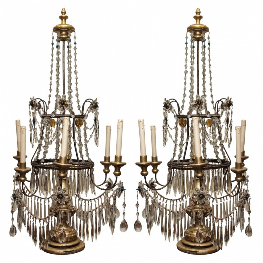 Italian Genovese Girandoles of Giltwood and Crystal 19th Century