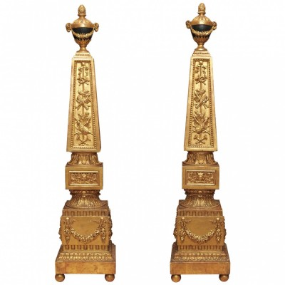 Pair of 18th Century Italian Luigi XVI Gilt Wood Decorated Obelisk