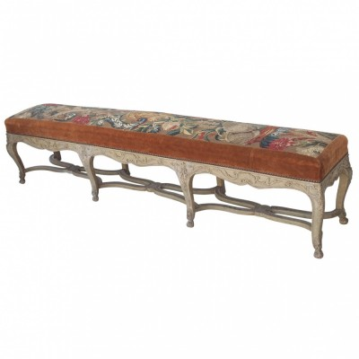 French Early 19th Louis XV Painted Long Benches with Abusson Cover