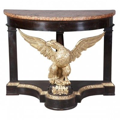 Neo Classical Italian Eagle Parcel Gilt & Mahogany Console