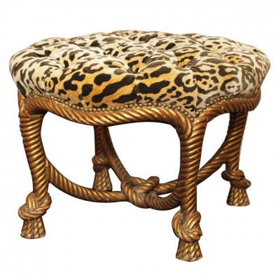 FRENCH NAPOLEON III GILTWOOD ROPE STOOL