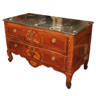 VERONESE MARQUETRY FRUITWOOD COMMODE