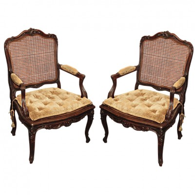 Pair Of Louis Xv Style Walnut Cane Armchairs