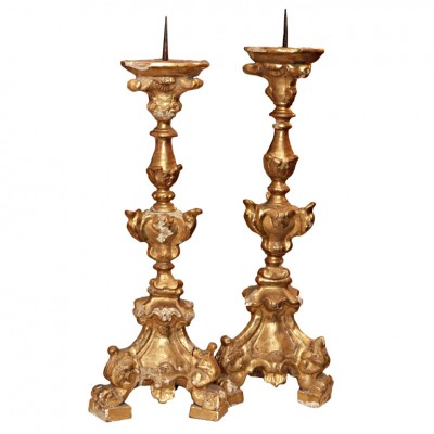 Pair Of Early 17th Century Gilt Pricket Sticks