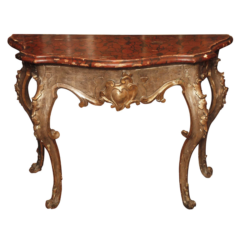 Superior Italian Giltwood And Faux Marble Console Table