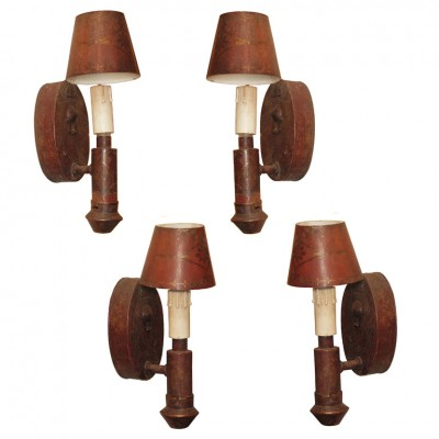 Two Pair Italian Tole Wall Sconces