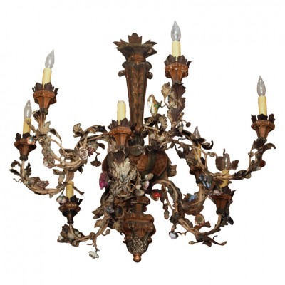 Italian Giltwood, Iron, Tole and Porcelain Chandelier