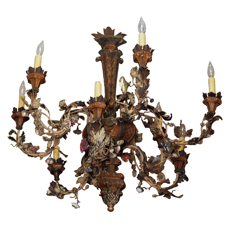 Italian Giltwood Iron Tole And Porcelain Chandelier