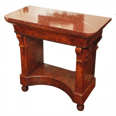 Charles X Burl Console Table with Rouge Marble Top