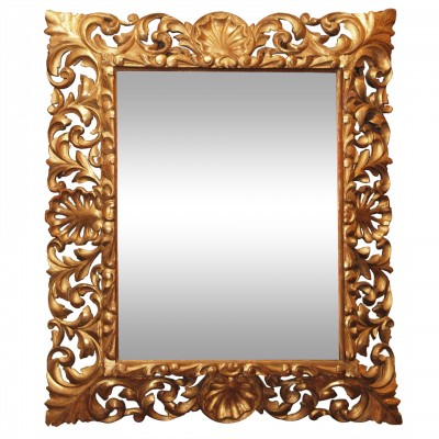 "Spanish ""pillow"" Gilt Wood Mirror"