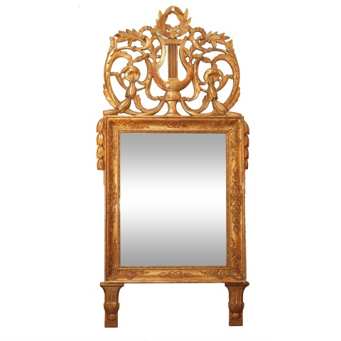 French Empire Gilt Wood Lyre MIrror