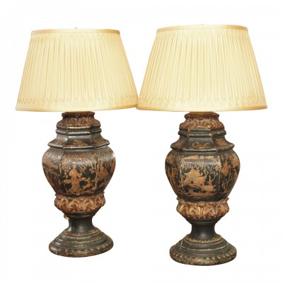 Pair of 18th c. Chinoiserie Decorated Urn Lamps