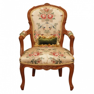 18th c French Louis XV Childs Fauteuil with 18th c. silk