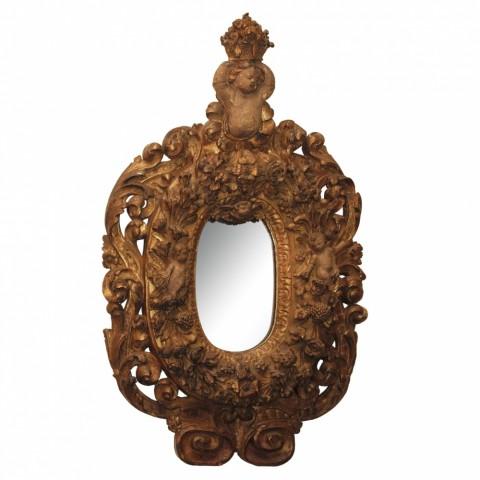 17th C. Baroque Gilt and Polychrome Mirror