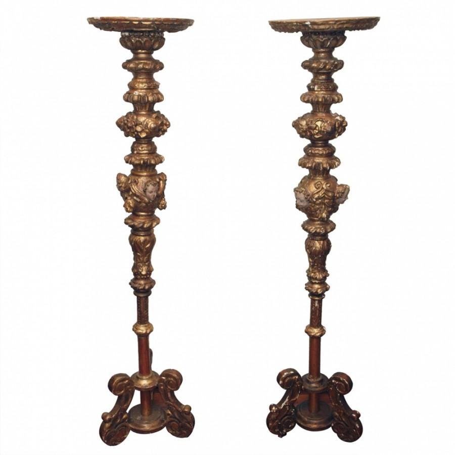 Pair of 18th c. Italian Torchere