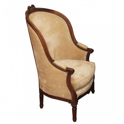 Large Scale 18th c. Italian Louis XVI Walnut Easy Chair