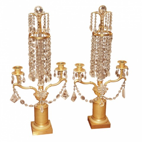 Charles X Gilt Bronze Engine Turned and Rock Crystal Girondoles